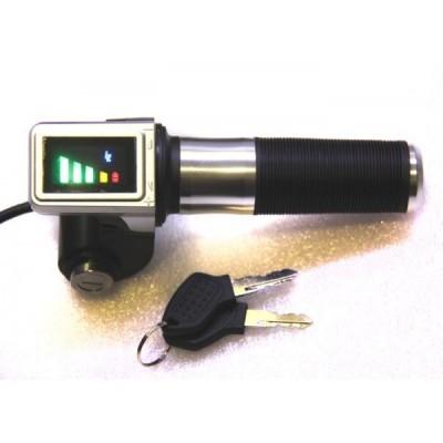 Ручка газа с индикатором заряда на 72v и замком зажигания Elvabike.com