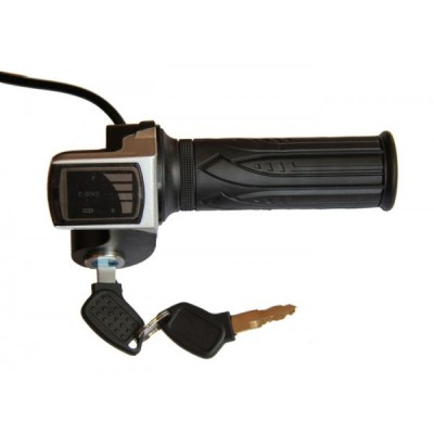 Ручка газа с индикатором заряда на 48v и замком зажигания Elvabike.com