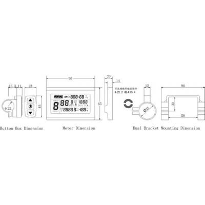 Дисплей LCD-3+USB  для контроллеров KUNTENG на 24v,36v,48v Elvabike.com